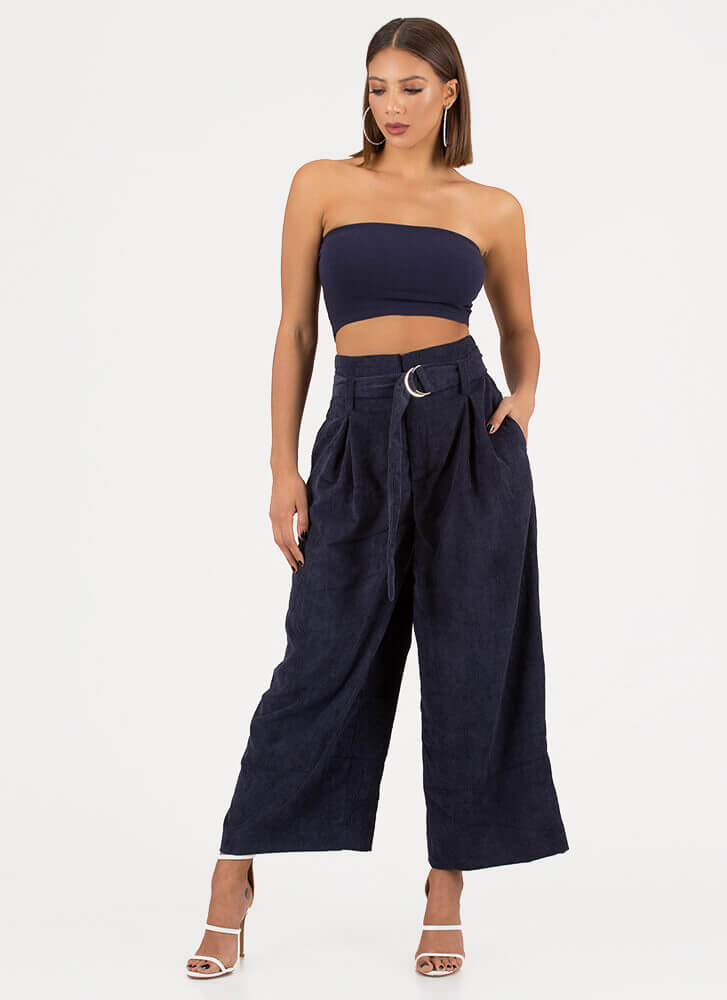 Runway Belted Corduroy Palazzo Pants NAVY (You Saved $19)