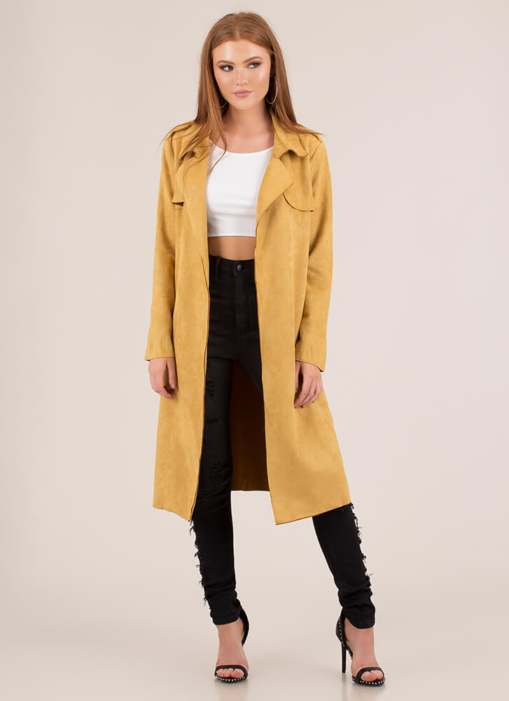 Windy City Faux Suede Trench Coat MUSTARD