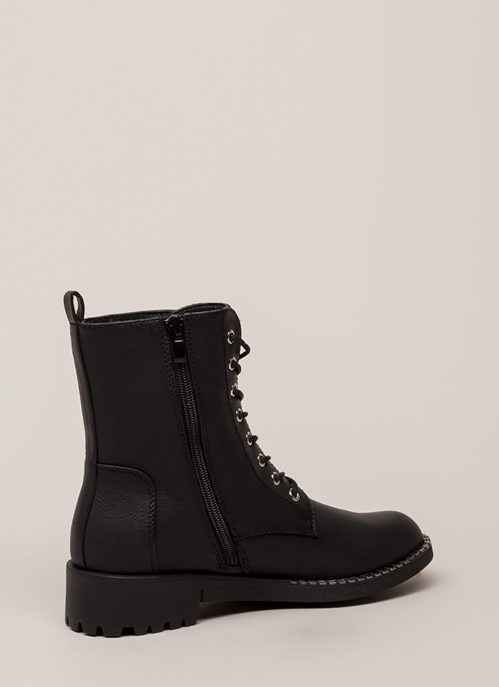 Added Incentive Trimmed Combat Boots BLACK