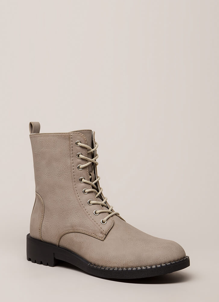 Added Incentive Trimmed Combat Boots GREY