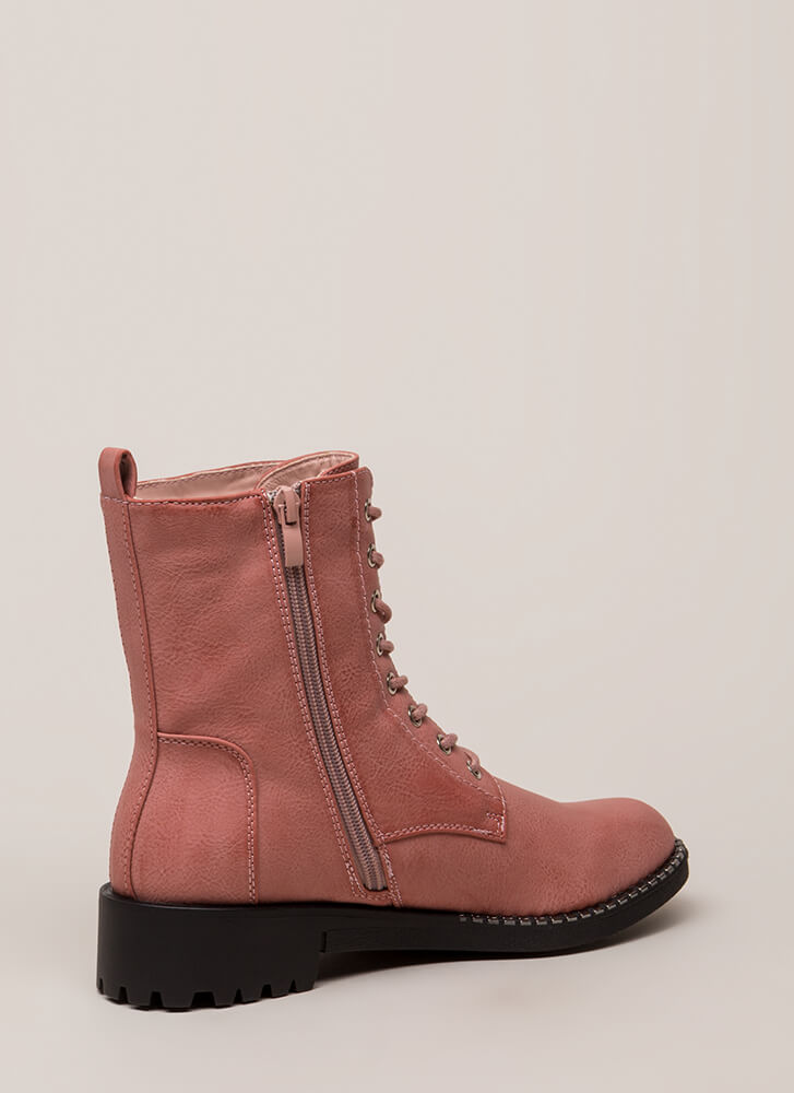 Added Incentive Trimmed Combat Boots MAUVE