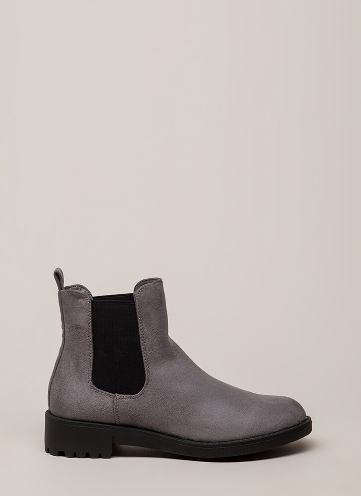 Off-Duty Faux Suede Chelsea Boots GREY