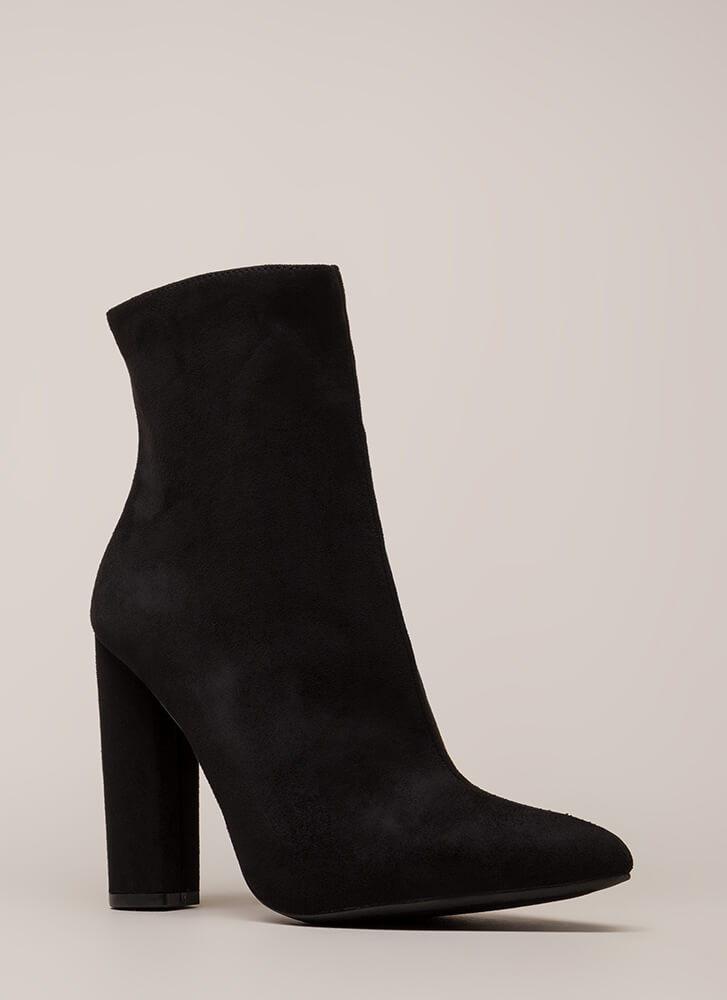 Easy Win Chunky Faux Suede Booties BLACK