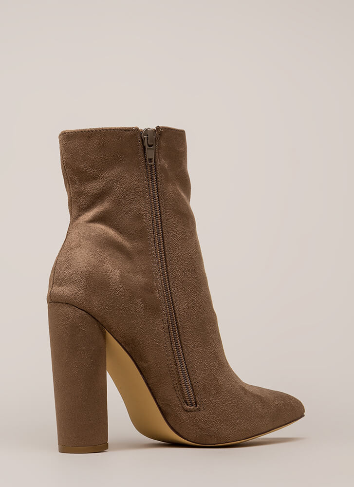 Easy Win Chunky Faux Suede Booties TAUPE
