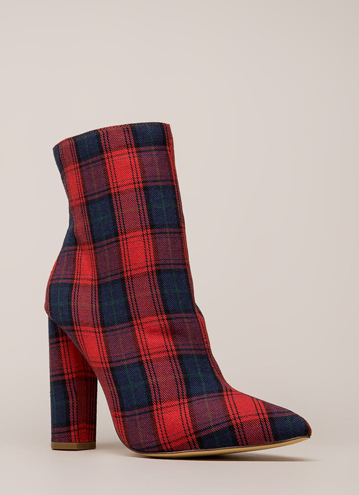 Easy Win Chunky Plaid Print Booties RED (You Saved $23)
