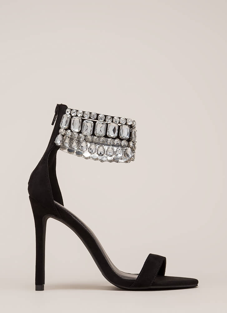 Crystal Ball Jeweled Ankle Cuff Heels BLACK