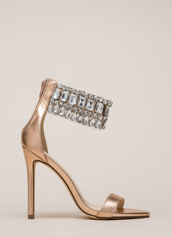 Crystal Ball Jeweled Ankle Cuff Heels ROSEGOLD