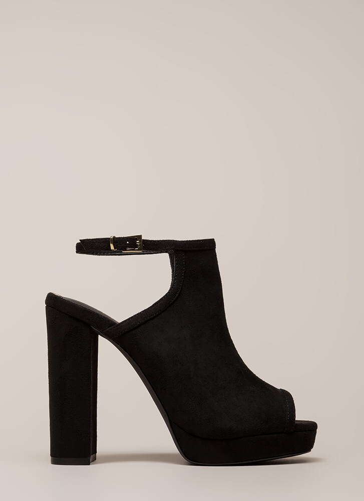 High Class Chunky Peep-Toe Platforms BLACK (You Saved $24)