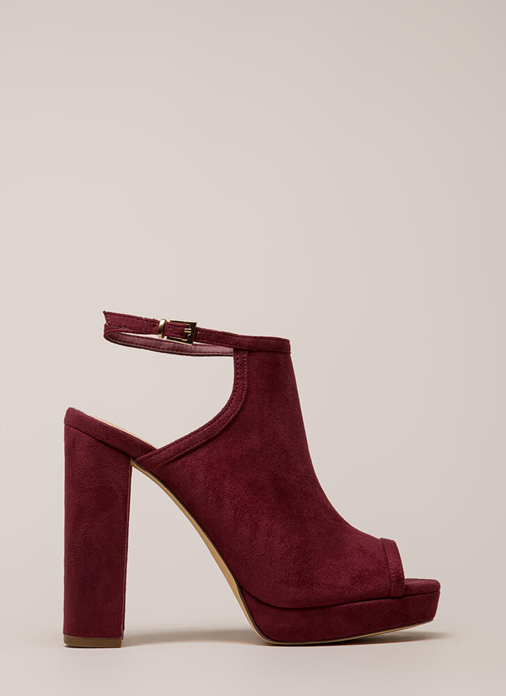 High Class Chunky Peep-Toe Platforms WINE (You Saved $24)