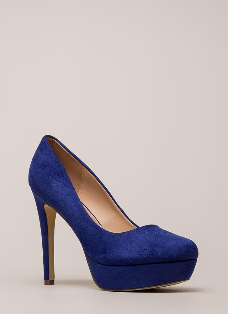 Simple Satisfaction Platform Pumps BLUE