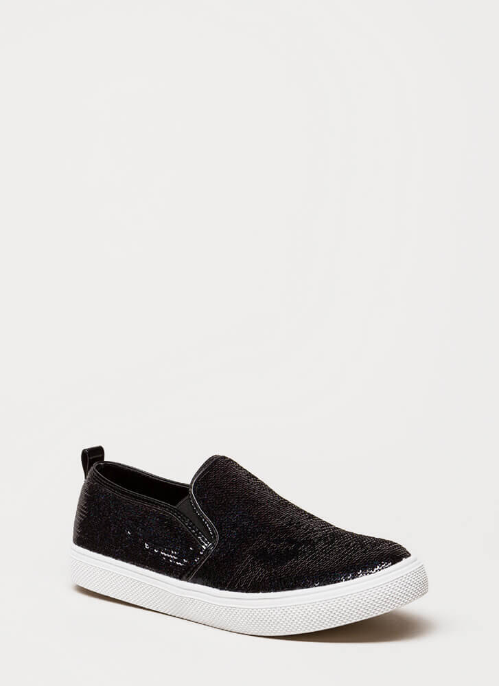 Staying In Sequins Slip-On Sneakers BLACK
