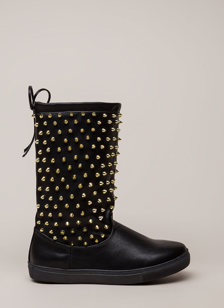 Spike Force Studded Tie-Back Boots BLACK