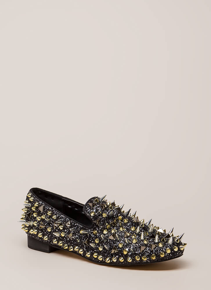 Introvert Spiky Studded Smoking Flats BLACK (You Saved $41)