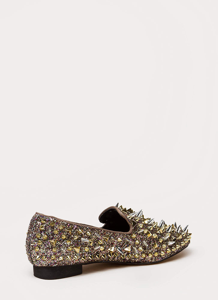 Introvert Spiky Studded Smoking Flats MULTI (You Saved $41)