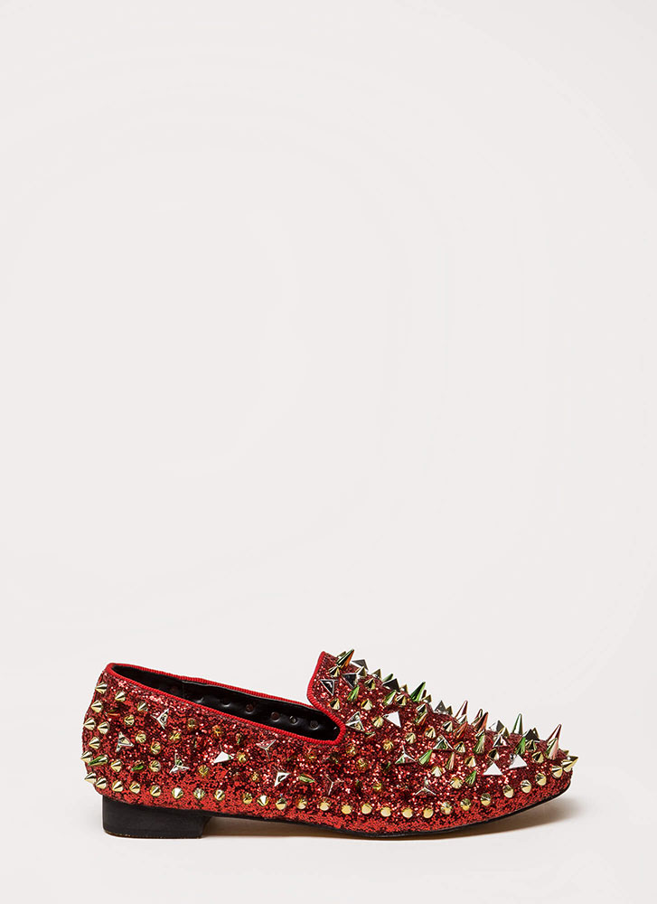 Introvert Spiky Studded Smoking Flats RED