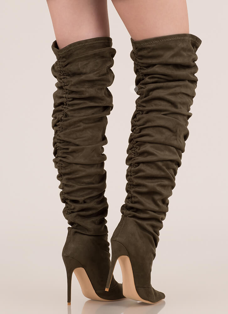Shirr Thing Ruched Thigh-High Boots OLIVE