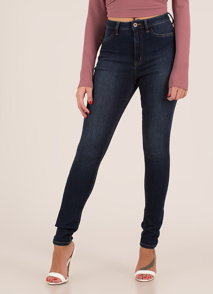 Snatched High-Waisted Skinny Jeans DKBLUE (You Saved $23)