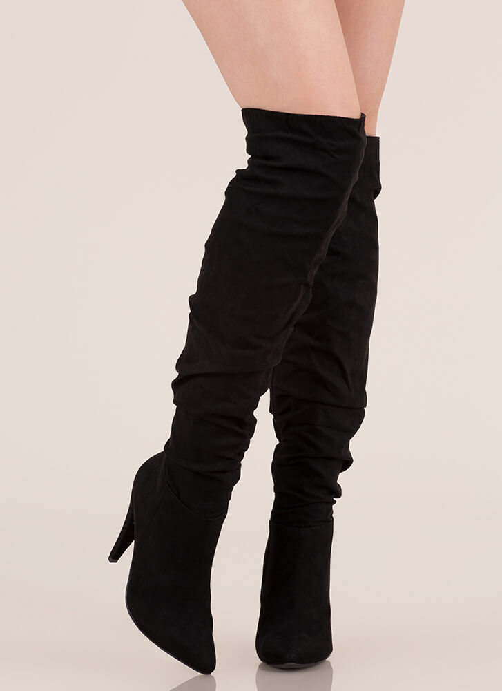 Style Points Slouchy Thigh-High Boots BLACK