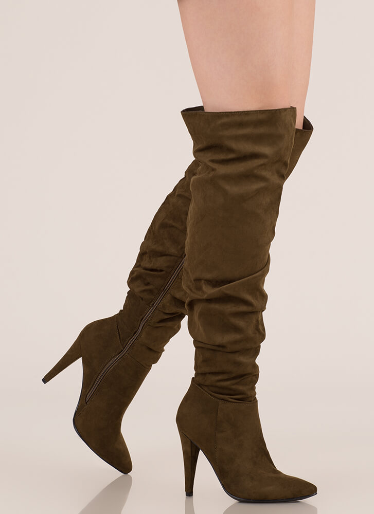 Style Points Slouchy Thigh-High Boots OLIVE
