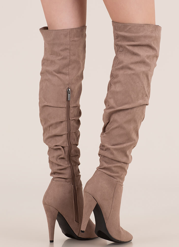 Style Points Slouchy Thigh-High Boots TAUPE