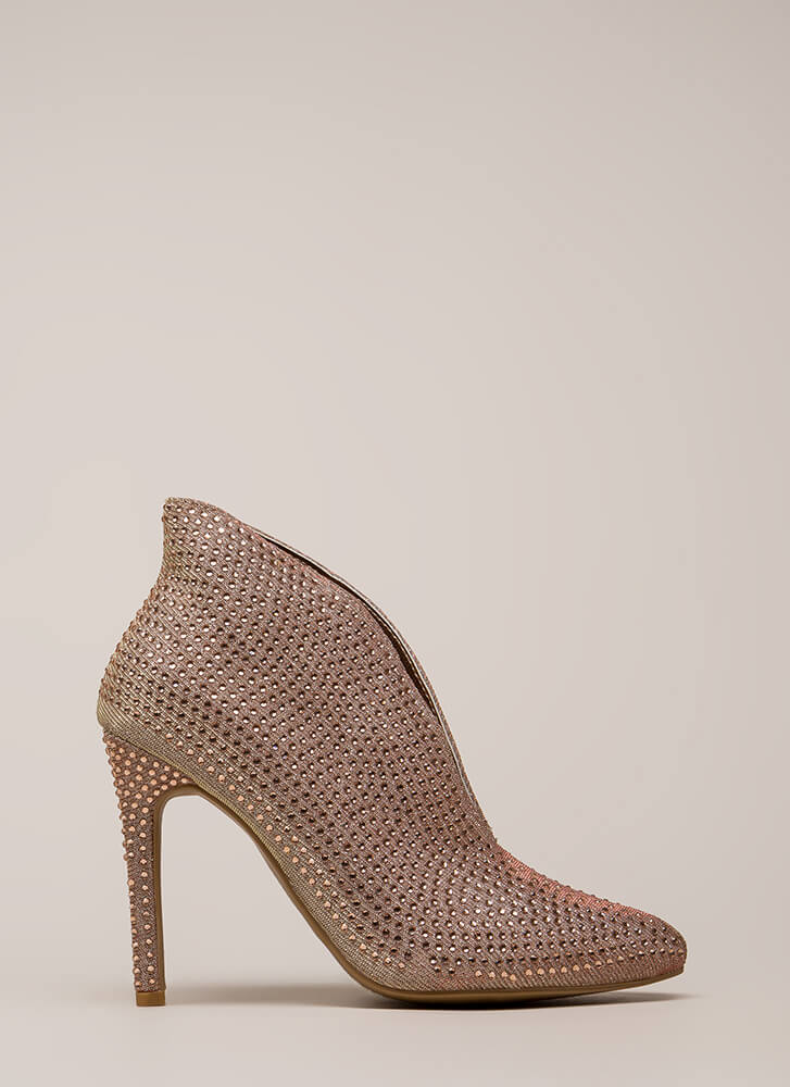 Just Jewels Pointy Glittery Booties ROSEGOLD (You Saved $28)