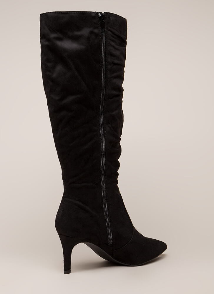 Long For Slouchy Faux Suede Boots BLACK