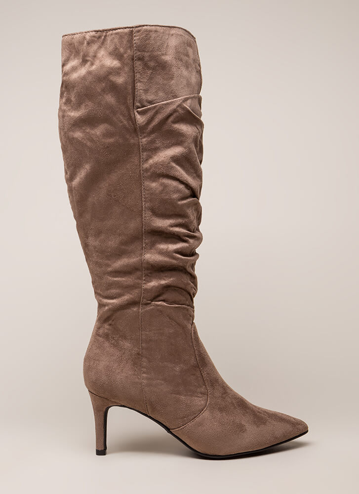 Long For Slouchy Faux Suede Boots LTTAUPE
