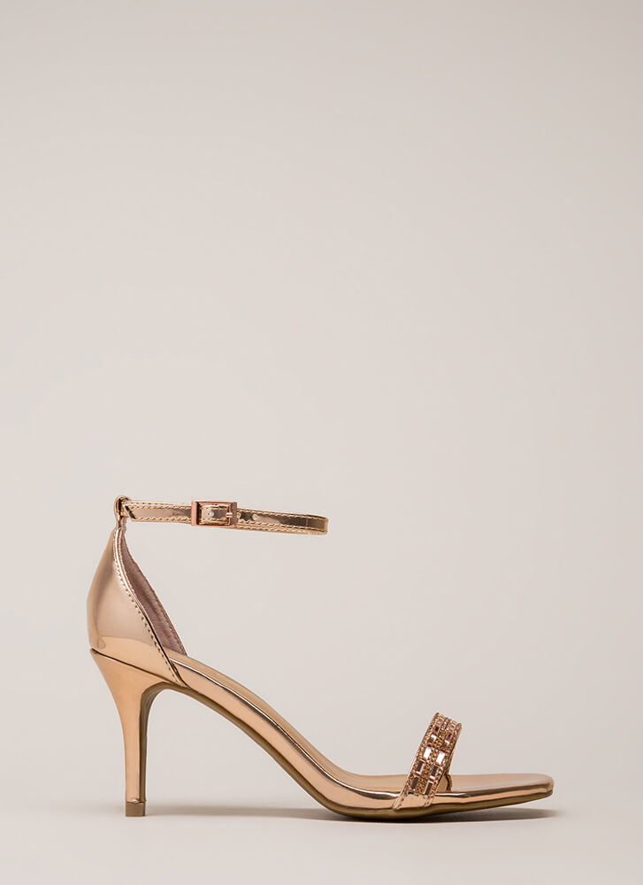 Formal Affair Jeweled Metallic Heels ROSEGOLD