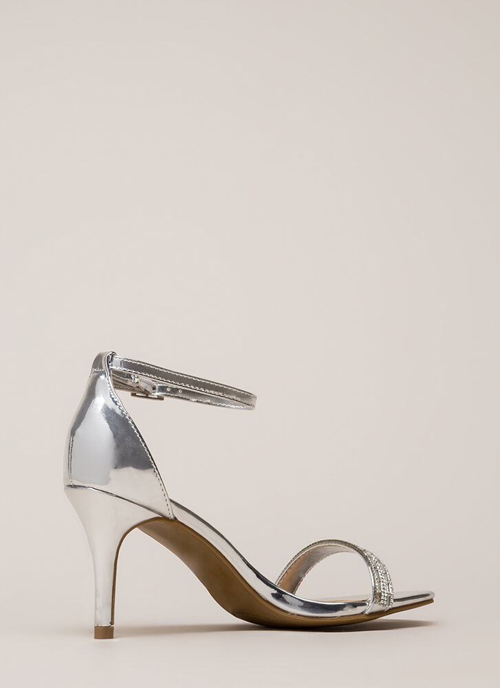 Formal Affair Jeweled Metallic Heels SILVER