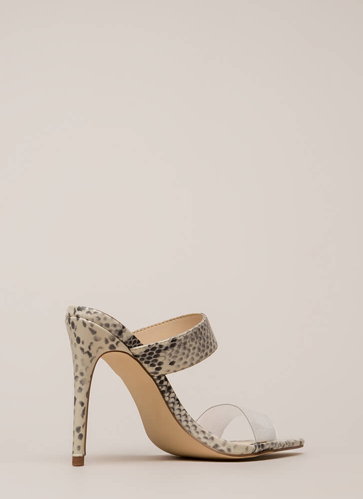Clear Instructions Faux Snake Heels BEIGE