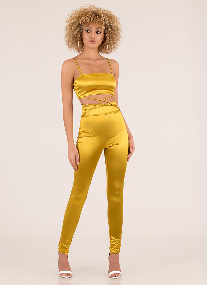 Tie Me Down Strappy Two-Piece Jumpsuit MUSTARD