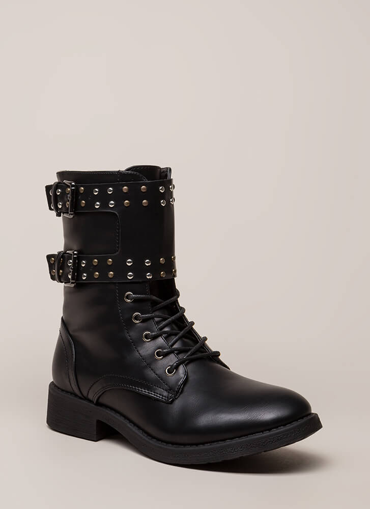 Badge Of Honor Studded Combat Boots BLACK