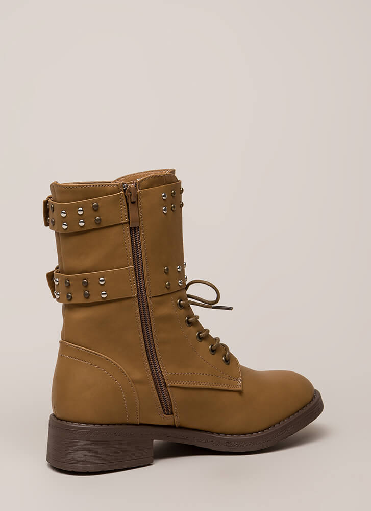 Badge Of Honor Studded Combat Boots TAN