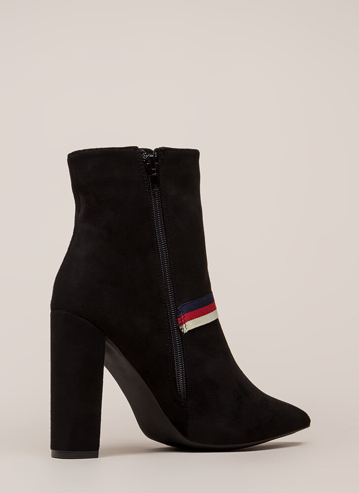 Notch On My Belt Pointy Striped Booties BLACK