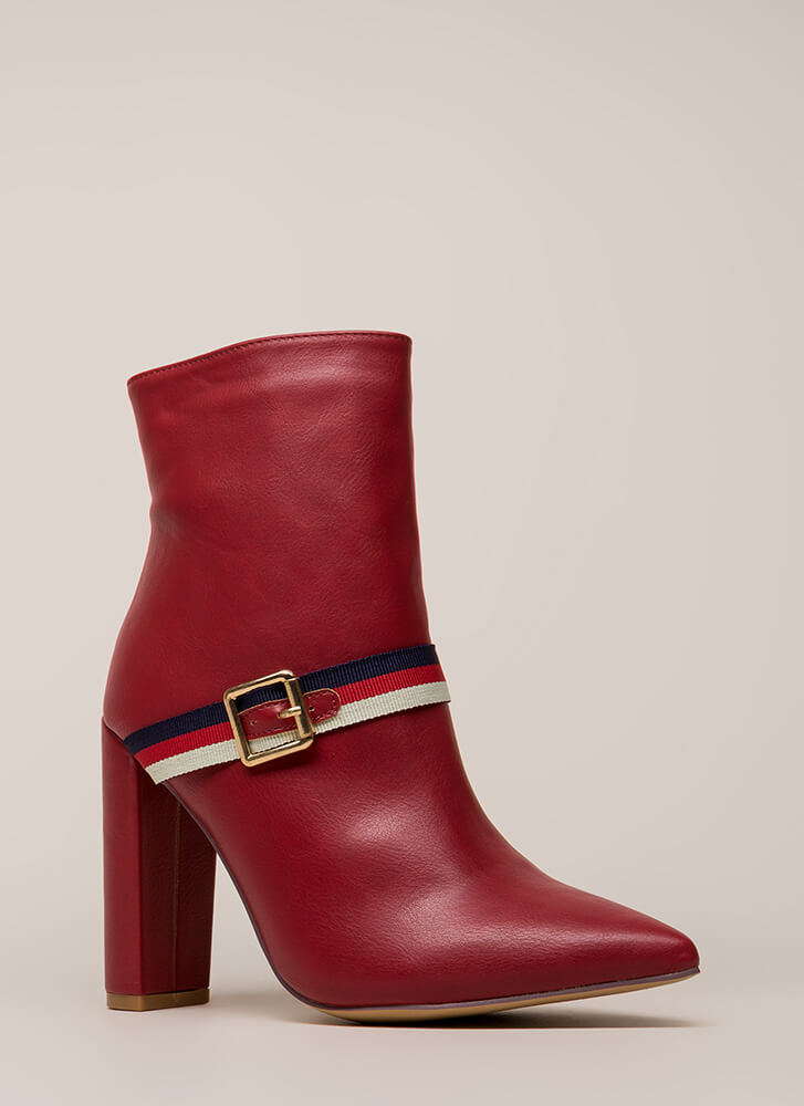 Notch On My Belt Pointy Striped Booties RED