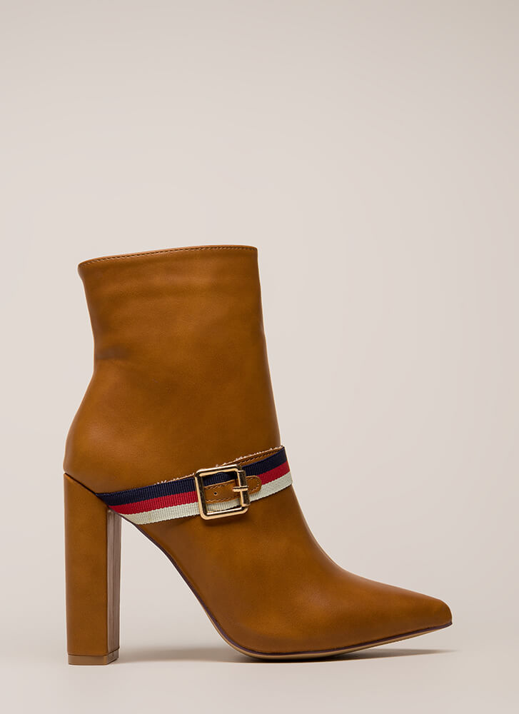 Notch On My Belt Pointy Striped Booties TAN