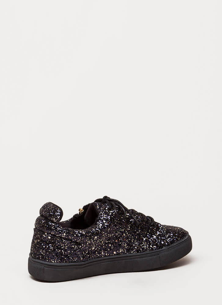 Let It Zip Glittery Platform Sneakers BLACK