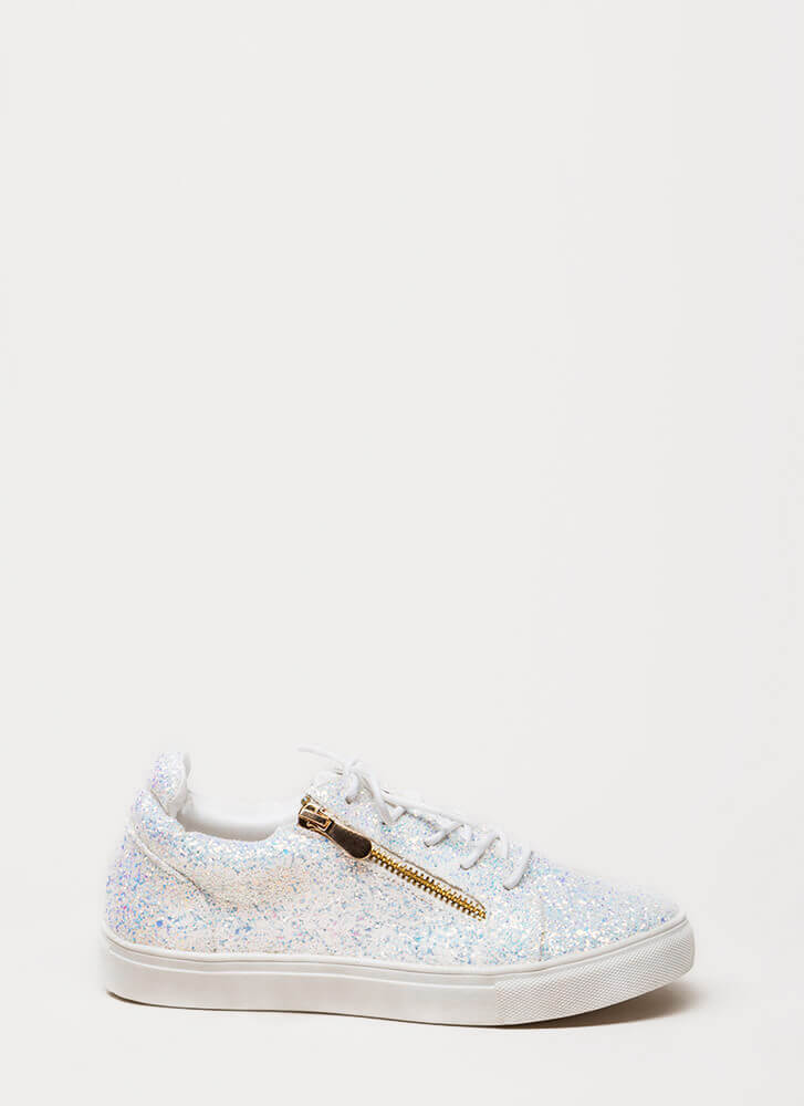Let It Zip Glittery Platform Sneakers WHITE