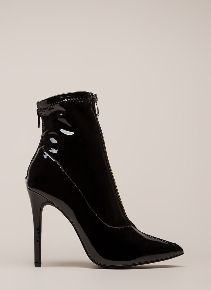 Zip Thru It Pointy Faux Patent Booties BLACK (You Saved $28)