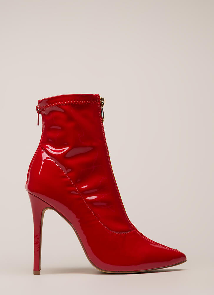 Zip Thru It Pointy Faux Patent Booties RED