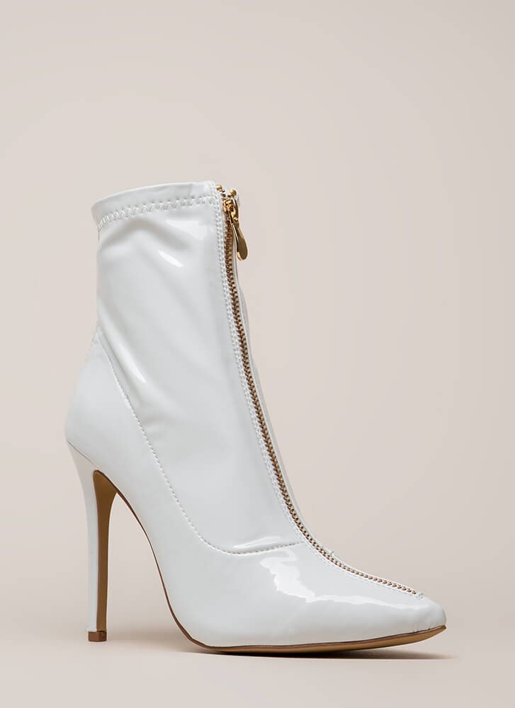 Zip Thru It Pointy Faux Patent Booties WHITE