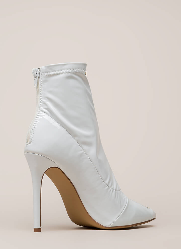 Zip Thru It Pointy Faux Patent Booties WHITE (You Saved $28)