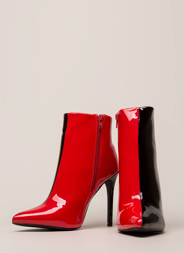 Half It Your Way Pointy Stiletto Booties BLACKRED