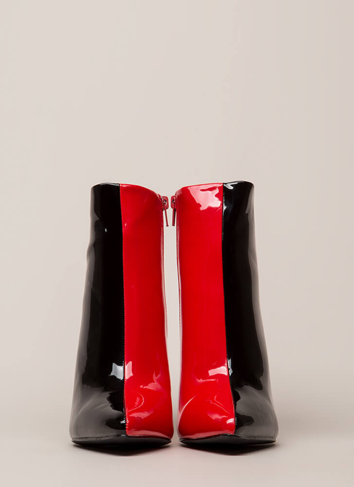 Half It Your Way Pointy Stiletto Booties BLACKRED (Final Sale)