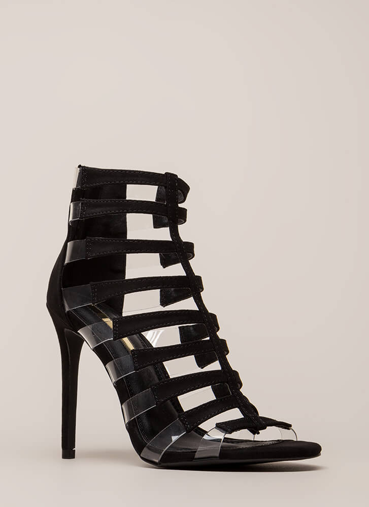Strappy Days Caged Illusion Heels BLACK