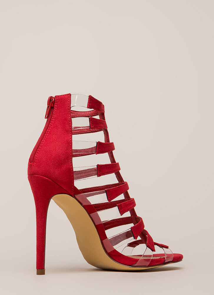 Strappy Days Caged Illusion Heels RED