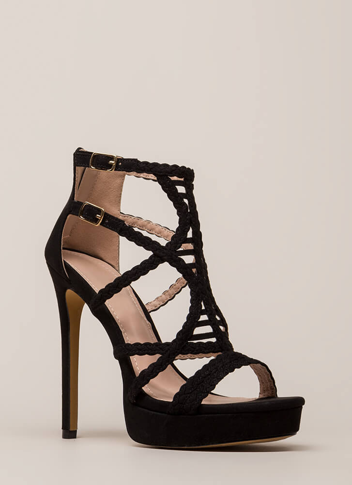 Deja Vu Braided Caged Platforms BLACK