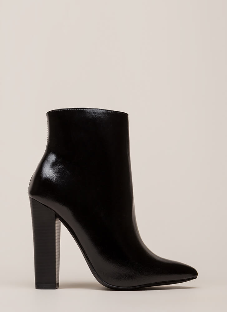 You Really Shine Pointy Chunky Booties BLACK