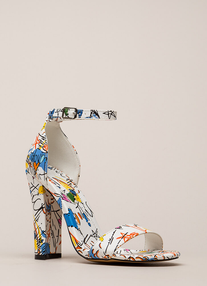 Draw Inspiration Chunky Graffiti Heels WHITE