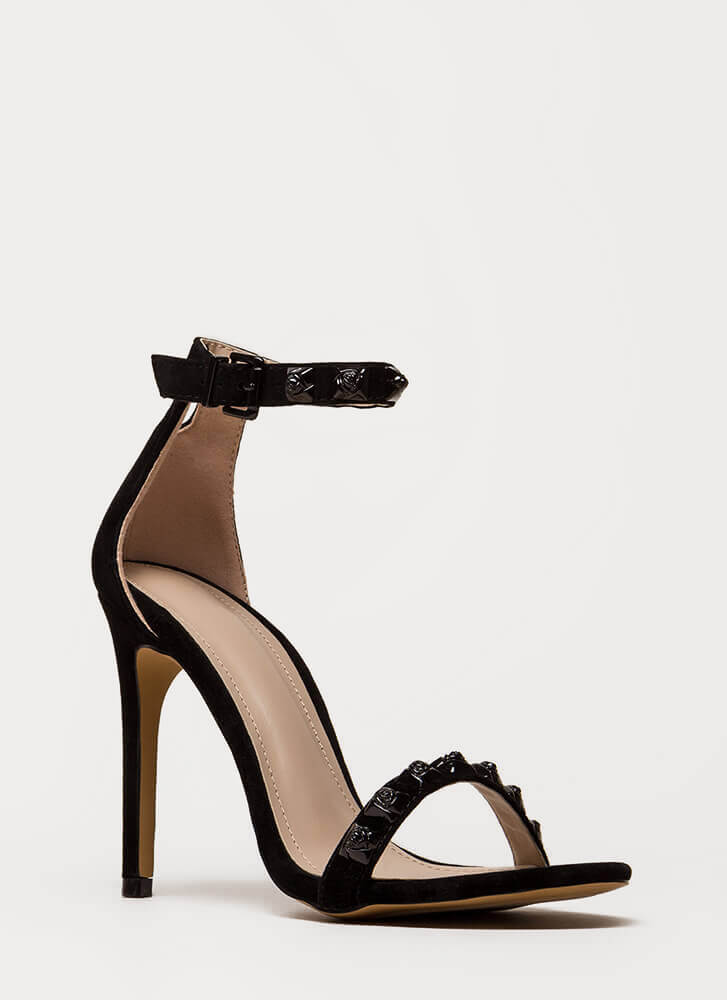 Coming Up Roses Strappy Studded Heels BLACK